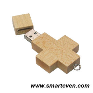 Cross Shaped Wooden USB Flash Drive Memory Stick (S-U-W001)