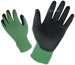 Garden Dark Green Colorful Nylon Work Glove with Black PU Palm Coated (PN8005)