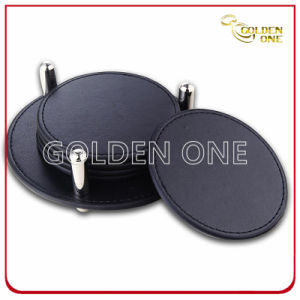 Best Quality Hot Stamped Round Shape PU Leather Coaster pictures & photos