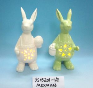 Color-Changing LED Lighted Ceramic Easter Bunny pictures & photos