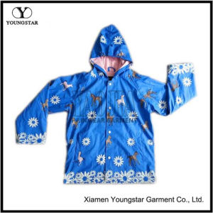 Childrens Kids Blue PU Rain Jacket Parka Kids Rain Coats pictures & photos