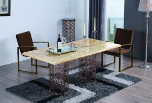 OEM Stainless Steel Dining Table with Marble Table Top pictures & photos