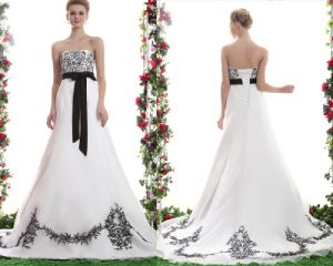 No Risk Shopping Simple a Line Strapless Floor Length Sweep/Brush Train Embroidered Waistband Organza Wedding Dress