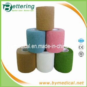 Colored Hand Tear Cotton Self - Adhesive Elastic Bandage pictures & photos