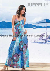 Knit Women Cheap Pleated Medallion Print Cami Maxi Dress OEM pictures & photos