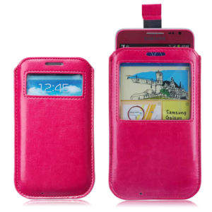 View Window Leather Mobile Cell Phone Pouch for Samsung Galaxy S6