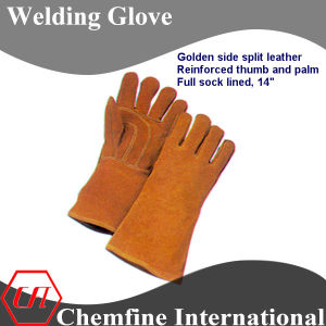 Golden Side Split Leather, Reinforced Thumb and Palm, Full Sock Lined Leather Welding Glove pictures & photos