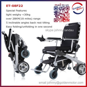 8′′ E-Throne Folding Lightweight Power Brushless Electric Wheelchair with Lithium Battery pictures & photos