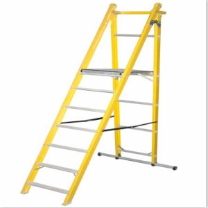 35kv Yellow Industrial Fiberglass Folding-Platform Ladder with Casters pictures & photos