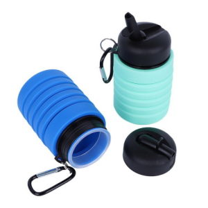 Silicone Collapsible Straw Camping Water Bottle