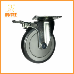 5inch Heavy Duty Medical Bed Caster/Medical Caster/TPR Single Bearing Caster with Brake