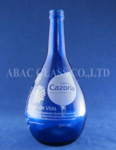 Dripping Blue Glass Bottle 750ml