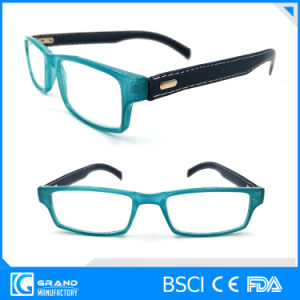 High Quality Plastic Reading Glasses with Leather Temples Fashion Eyewear