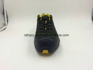 Army Green Leather Cement Outsole Safety Shoes (16077) pictures & photos