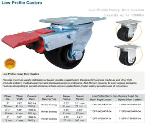 Heavy Duty Low Gravity Casters with 3 Inch Nylon Weel pictures & photos