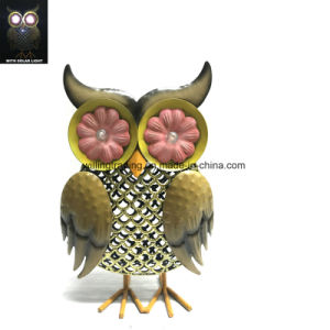 New Metal Owl W. Solar Lighted Eye Garden Decoration
