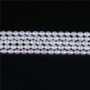 High Quality Rice Egg Shape White Freshwater Pearl Strand Wholesale pictures & photos