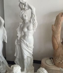 White Nude Body Art Marble Sculpture for Garden Ornaments