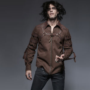 Y-644 Coffee Punk and Rock 100% Cotton Man Long Sleeve Shirts