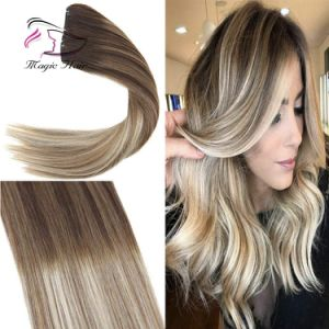 Clip In Hair Extension Human Hair Ombre 4 Dark Brown Mix 6 Medium Brown Fading To 22 Medium Blonde Full Head For 7pcs 120g