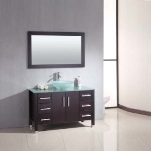wood countertop for bathroom vanity Hot Selling Single Sink Solid Wood Glass Countertop Rustic Bathroom Vanity