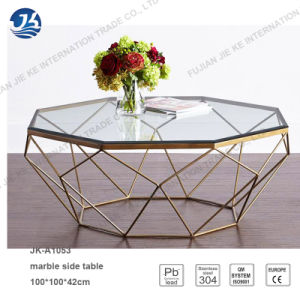 new design polygon marble glass metal frame coffee table - Metal Frame Coffee Table
