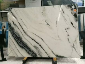 Natural Stone Polished Panda White Marble Slabs With Black Vein On S