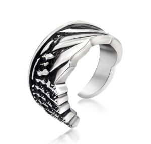 Cuff Couple Ring Titanium Steel Vintage Silver