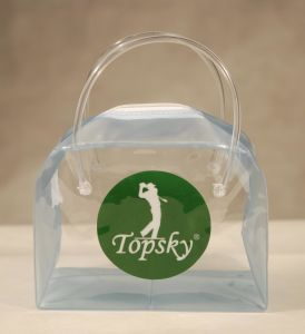 Custom Print Clear PVC Cosmetic Handle Bag