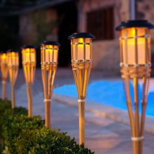 Solar LED Outdoor Pathway Lights, Solar Bamboo Torch Lights, Solar Lawn Lamp for Landscape Garden Patio Yard