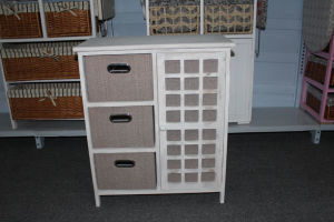 Wooden cabinet with 3 cloth drawers
