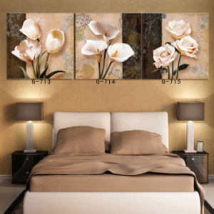 3 Piece Hot Sell Modern Wall Painting Home Decorative Wall Art Picture Painted On Canvas Flowers Painting With Framed Mc 198