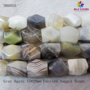 Gray Agate Natual Gemstone Nugget Beads (NB0055)