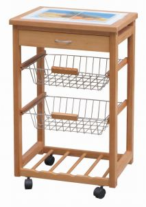 Pine Trolley With Arwork Tile Top (HX1-3186S)