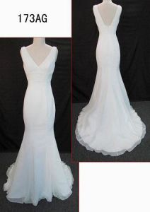 Latest Spaghetti Strap Low Back OEM Wedding Dress pictures & photos