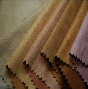 STRETCHY Faux Suede With Foil Fabric Material KHAKI