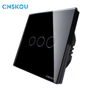 Cnskou Manufacturer Electrical Touch Switches 220V50Hz 3 Gang 1 Way Light Wall Switch with Black Glass Plate Window Wall Switch