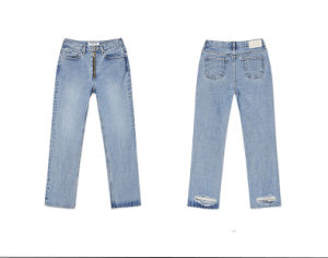 Womens Blue Denim Straight Jeans Destroy Pants Wholesale, Ladies Jeans pictures & photos