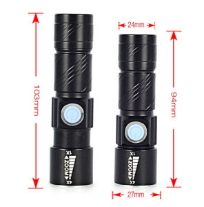 Golden Black CREE Q5 2000lm USB Rechargeable Alloy Hand Torch Zoomable LED Flashlight pictures & photos
