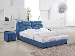 Euro Hot Sale New Design Bedroom Solid Wood Leather Bed