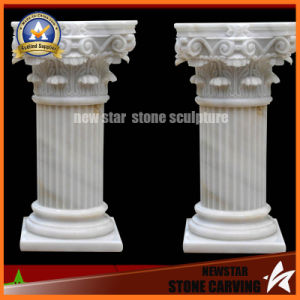 Hand Carved Marble Stone White Roman Pillar (NS-11C18) pictures & photos