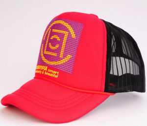 Wholesale Red Sponge Monster Trucker Mesh Hat Cap with Printing Logo pictures & photos