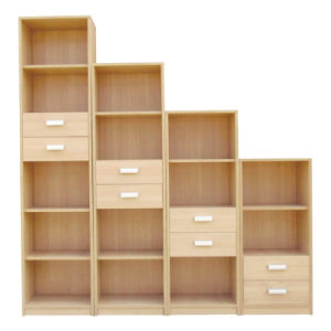 Modern Design Wood 3 4 5 Cubes Cabinet Bookshelf With Two Drawers