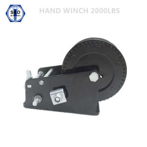 2000lbs Hand Winch Zinc Plated+Powder Coating with Removable Handle