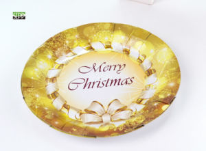 "Xmas 10.5"", 9"" & 7"" Round Disposable Paper Tableware Plate for Party"
