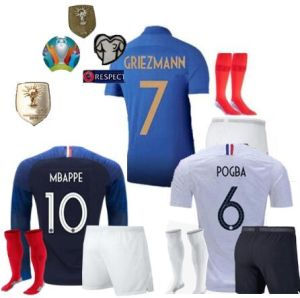 various colors da296 6f216 Centenaire 19 Maillot De Foot Enfant Kids Longues Sleeve Equipe De France  Retro 2 Etoiles Stars 2018 Football Kits Soccer Jerseys