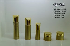 Gold Square Plastic Acrylic Lotion Bottle for Cosmetic Packaging Qf-018 pictures & photos