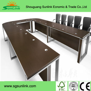 Wooden Melamine Manager Office Table Steel Leg Office Furniture (HF-B265) pictures & photos
