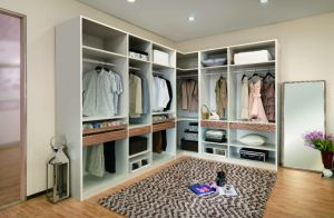 Modern Luxury Wood Grain Walk-in Bedroom Closet Wardrobe