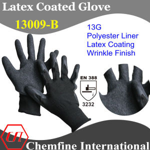 13G Black Polyester Knitted Glove with Gray Latex Wrinkle Coating/ En388: 3232 pictures & photos